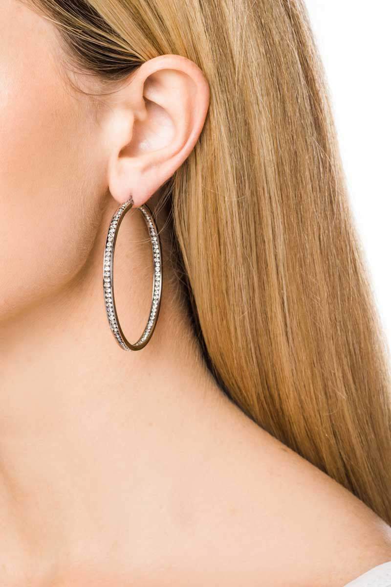Hoop Earrings: Zirconia (Clear - 5.5) - FrejaDesigns