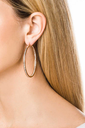 Hoop Earrings: Zirconia (Clear/Rose Gold-5.5) - FrejaDesigns