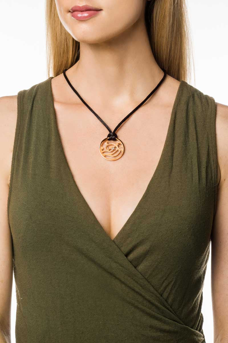 Necklace: Black cord with rose gold floral pendant. - FrejaDesigns