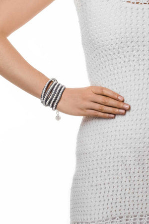 Wrap Bracelet (Grey/White) - FrejaDesigns