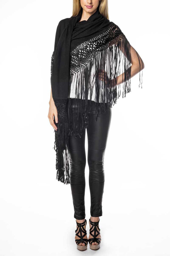 Silk/Cashmere Wrap (Black)