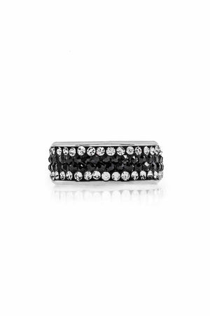 Stainless Steel Ring with Zirconia. (Clear/Black) - FrejaDesigns