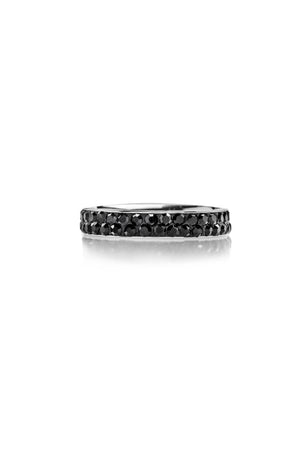 Stainless Steel Ring with Zirconia (Black) - FrejaDesigns