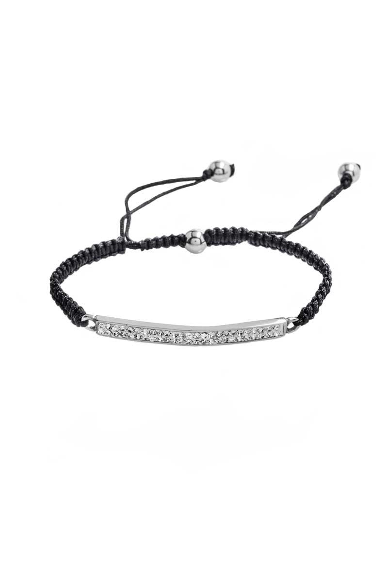 Bracelet: Black Cord, Zirconia (Clear) - FrejaDesigns