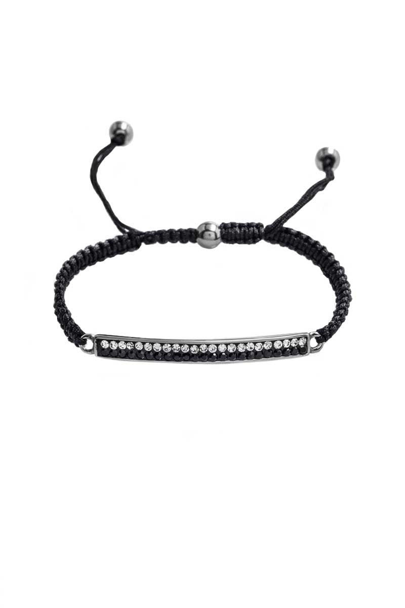 Bracelet: Black Cord, Zirconia (Clear/Black) - FrejaDesigns