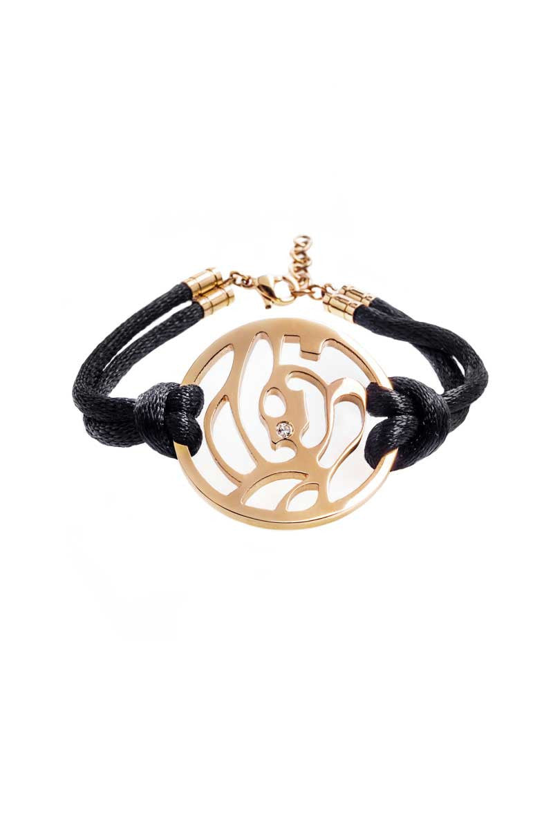Bracelet: Black Cord (Rose Gold) - FrejaDesigns