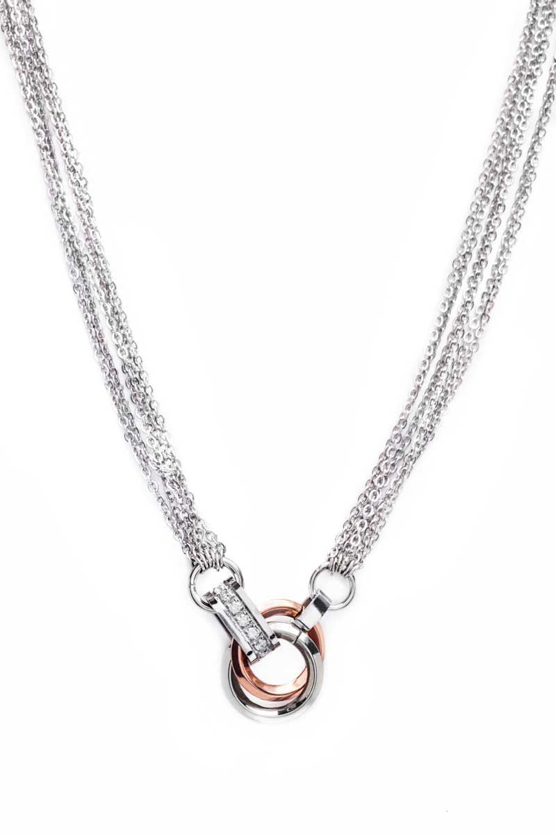 Necklace: Black Cord (Rose Gold/Steel) - FrejaDesigns
