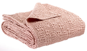 Throw - Pink Irregular Waffle Weave Throw