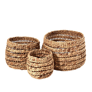 Accessories - Natural Water Hyacinth Stripe Baskets 3 Sizes