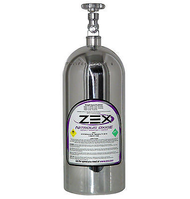 ZEX 82000P POLISHED NITROUS OXIDE BOTTLE W/VALVE 10LB CAPACITY