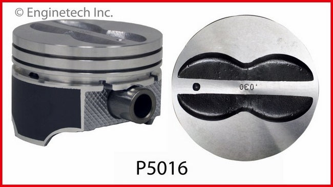 Enginetech P5016(8) Coated Skirt Flat Top Pistons Set for Chevrolet Small Block 350 5.7L
