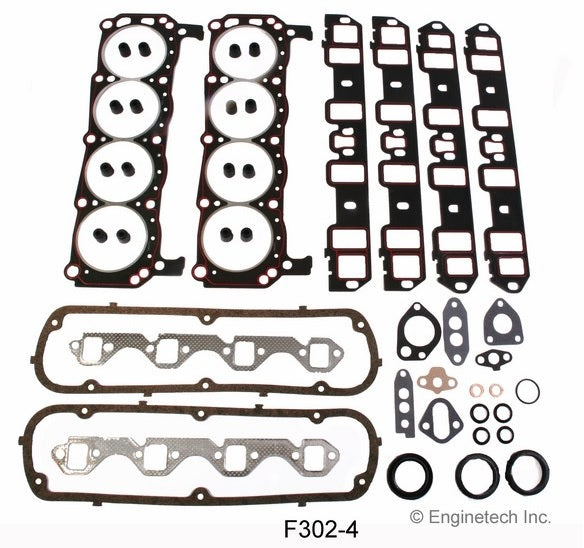 Enginetech F302-4 Full Engine Overhaul Gasket Set for 1963-1982 Ford 260 289 302 5.0L Car Truck