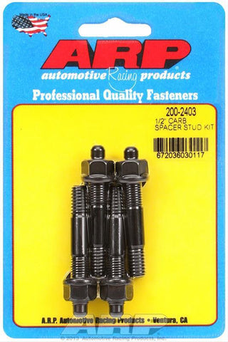 "ARP 200-2403 CARB STUD KIT 1/2"" SPACER 5/16 OAL 2.25 BLACK OXIDE"