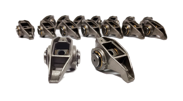 Chevrolet LS3 L99 L76 L92 LSA 6.2L Rocker Arms with AMS Racing Bronze Trunion Bushing Kit Installed