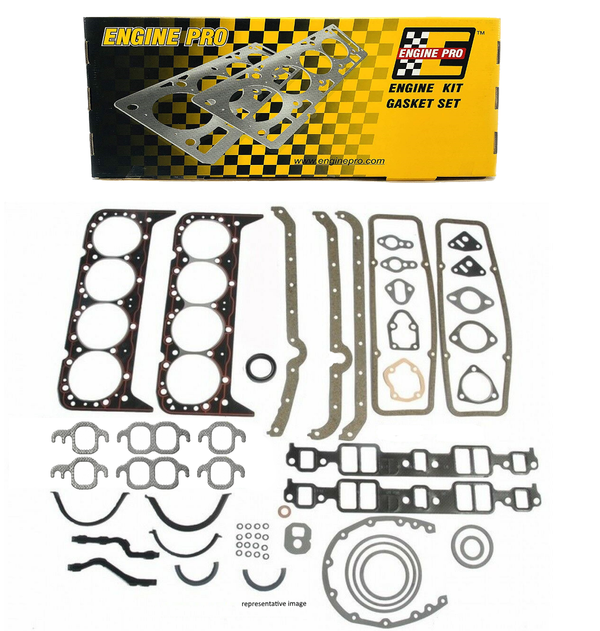 Engine Pro 30-1000 Overhaul Gasket Set Kit for Chevrolet SBC 265 283 302 307 327 350 5.7L w/ 2 Piece Rear Seal