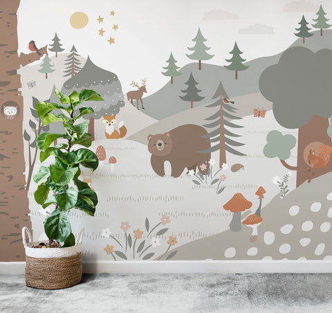 woodland wallpaper mural