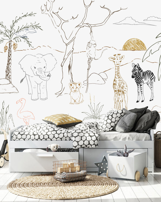BABY SAFARI ANIMALS WALLPAPER AND MURAL