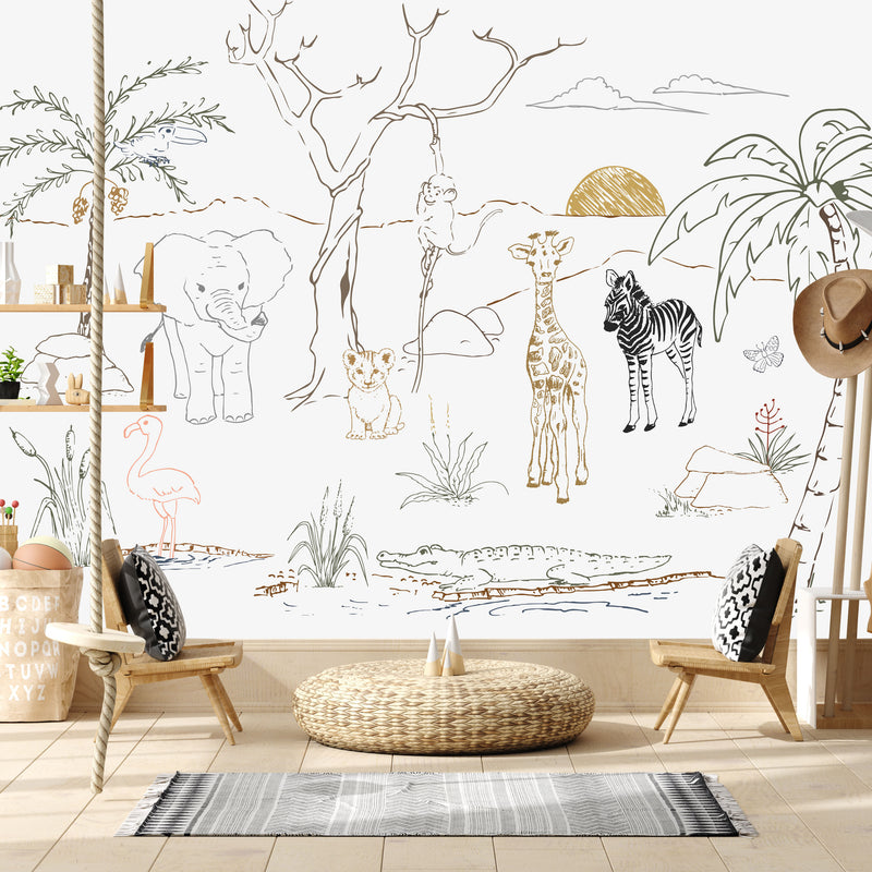 BABY SAFARI ANIMALS WALL MURAL