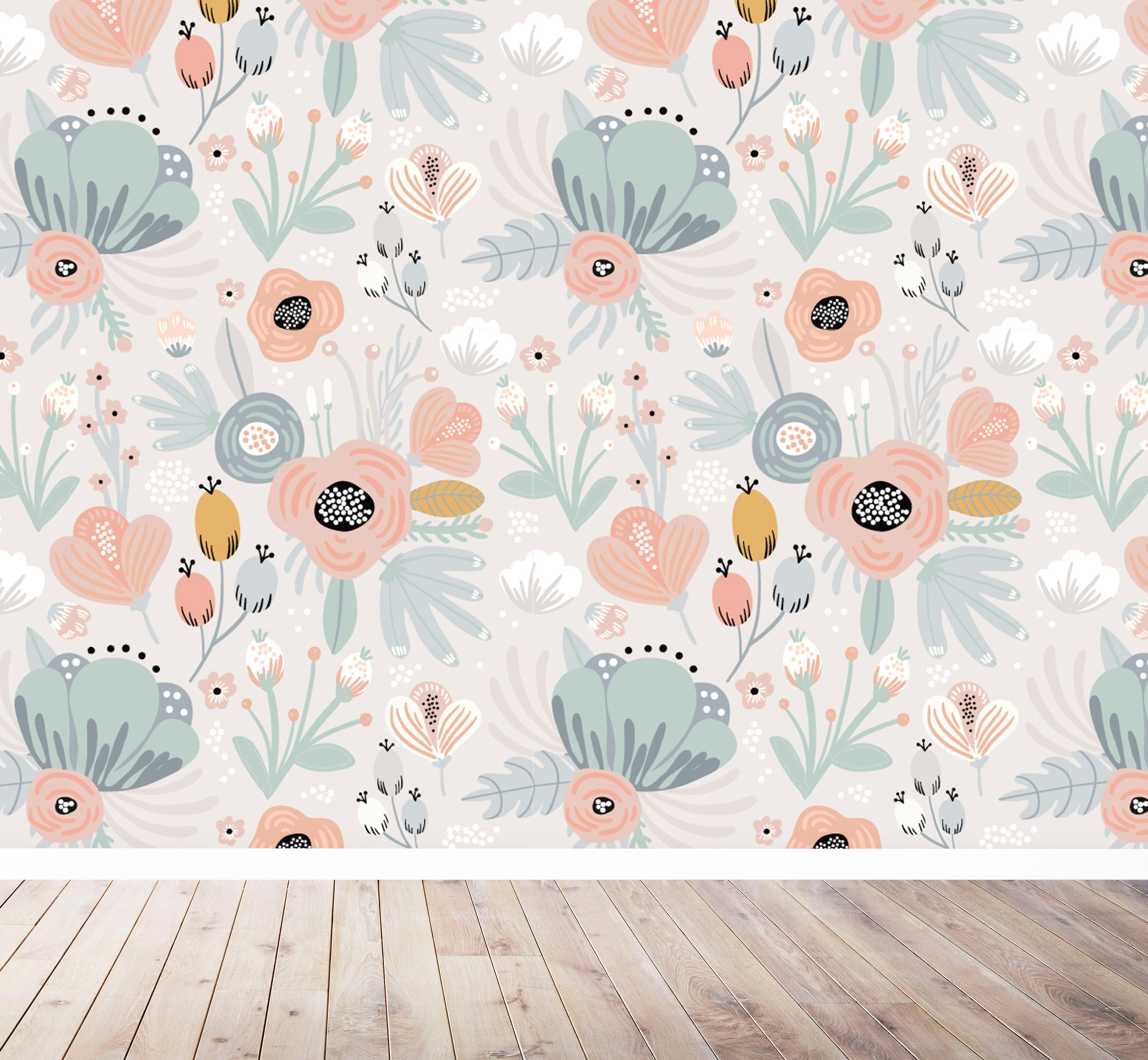 floral wall mural uk for nursery