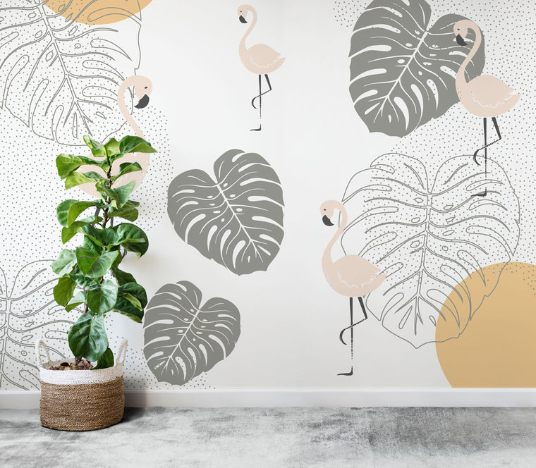 flamingo walllpaper mural | munks and me
