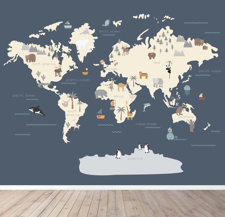 Character World Map Wallpaper - Navy