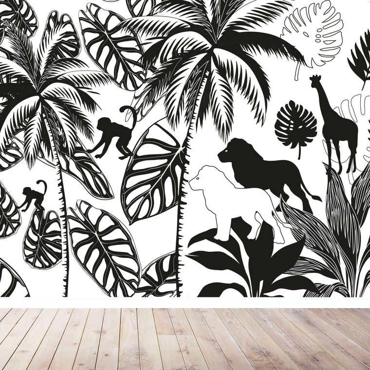 Monochrome Jungle Tree Wallpaper