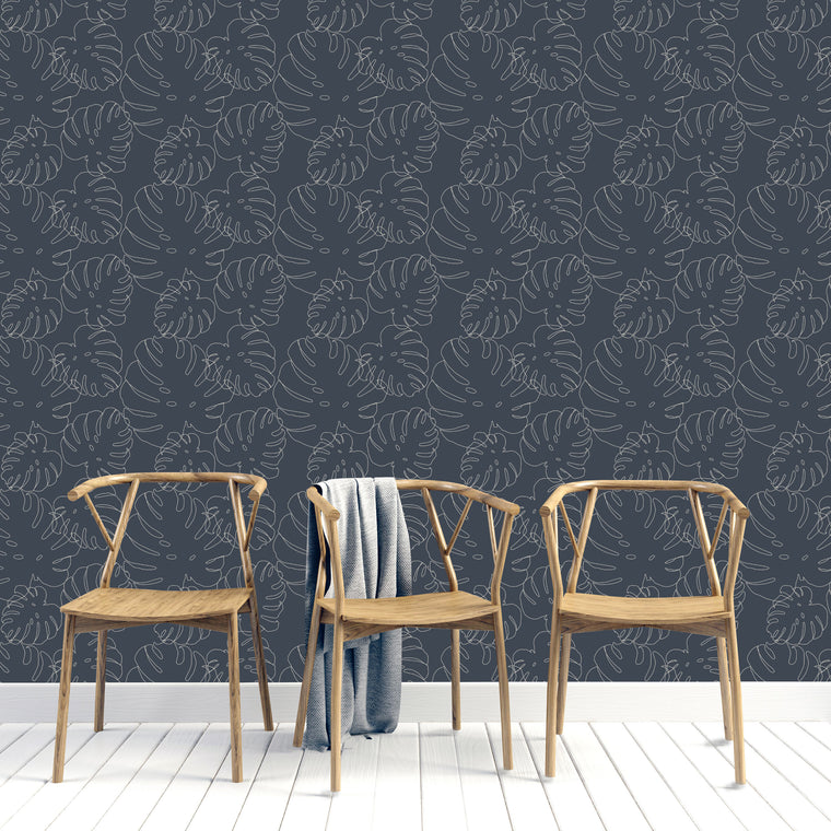 ELLE MONSTERA LEAF PRINT WALLPAPER - NAVY