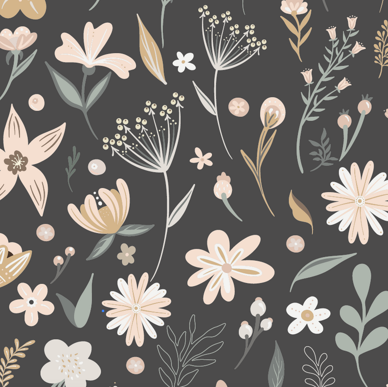 Millie Floral Wallpaper | Charcoal