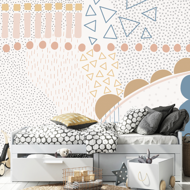 ABSTRACT WALL MURAL FOR KIDS BEDROOM AND NURSERY