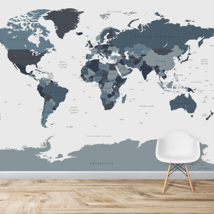 World Map Wallpaper | Blues