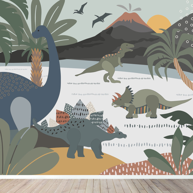 dinosaur wallpaper mural | munks and me