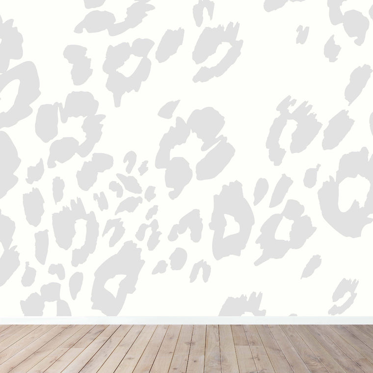Grey and White Leopard Print Wallpaper