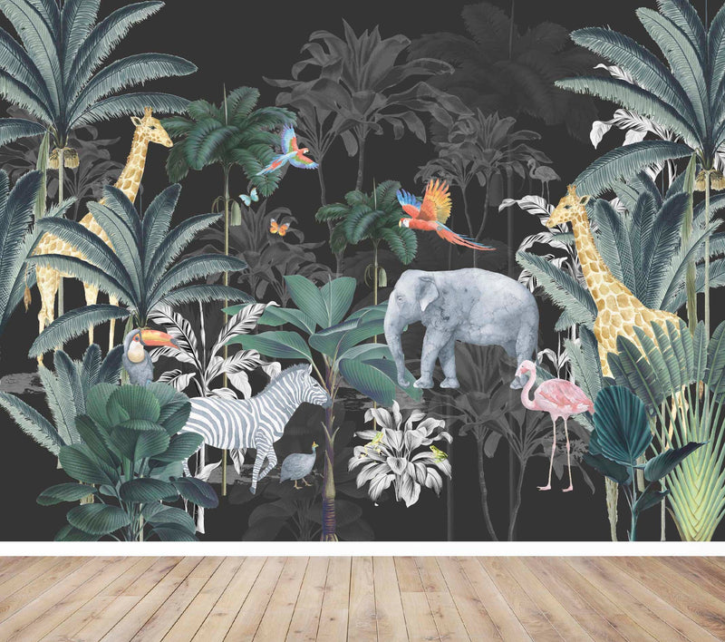 JUNGLE WALL MURAL - CHARCOAL