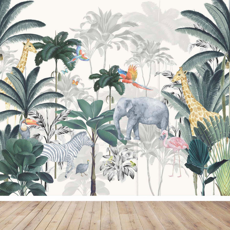 jungle wall mural, safari wall mural, jungle nursery