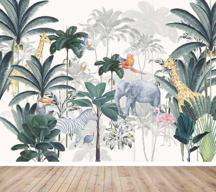 jungle wall mural, mural wallpaper, kids wallpaper