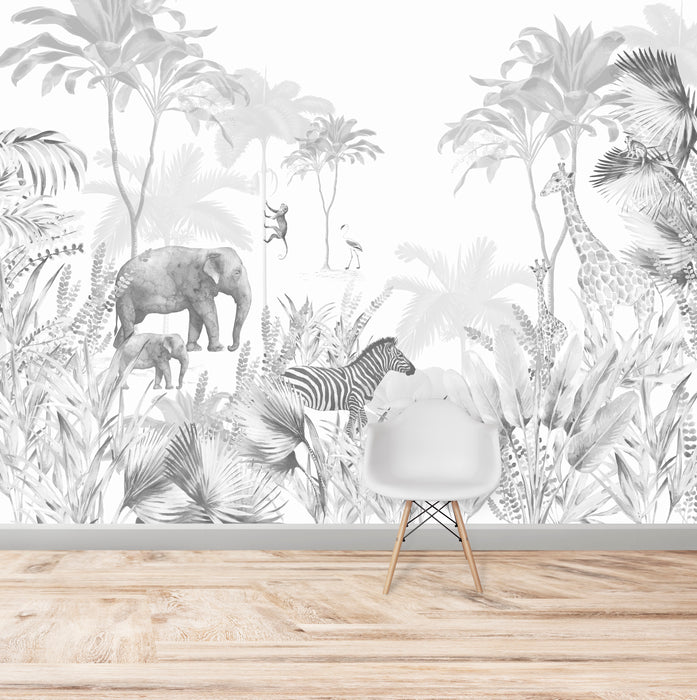 Monochrome Jungle Wallpaper Mural