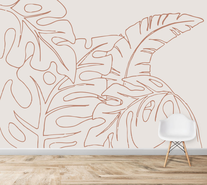 Monstera Palm Leaf Wallpaper