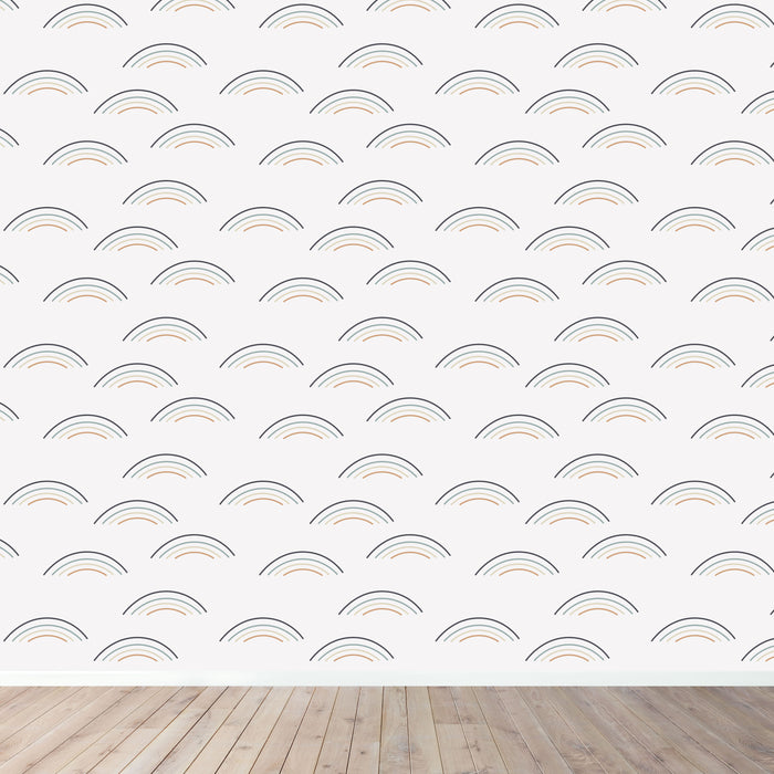 The Rainbow Wave Print Wallpaper - Navy