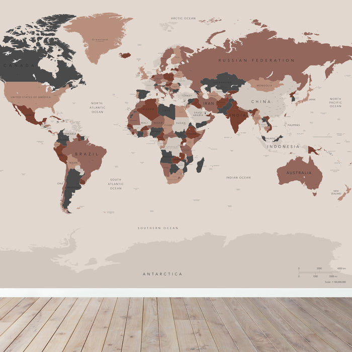World Map Wallpaper | Rose