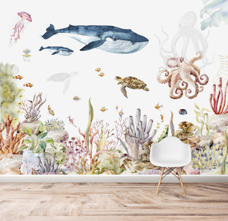 Under The Sea Wallpaper | Watercolour | Mural