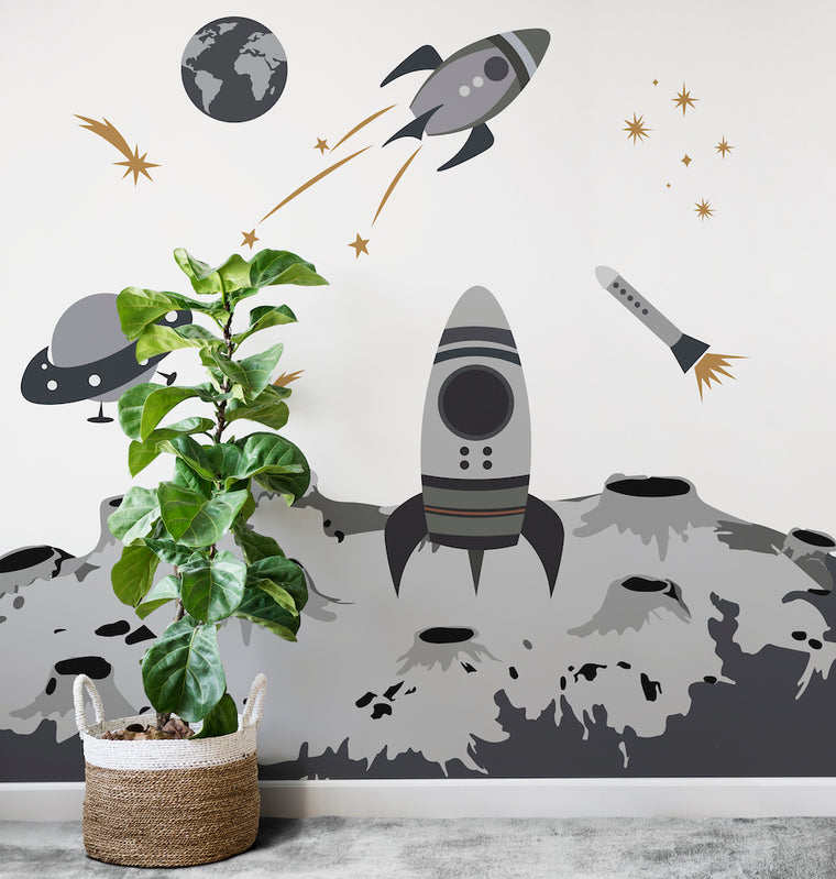Space Rocket Wallpaper Mural
