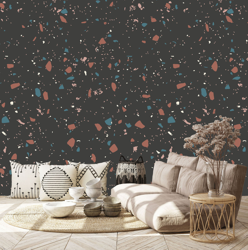 Terrazzo Wallpaper | Charcoal Space
