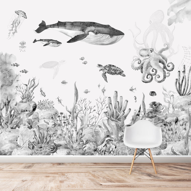 Under The Sea Wallpaper | Watercolour | Mural | Greys
