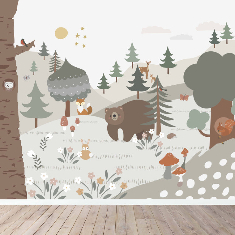 woodland wallpaper mural for kids