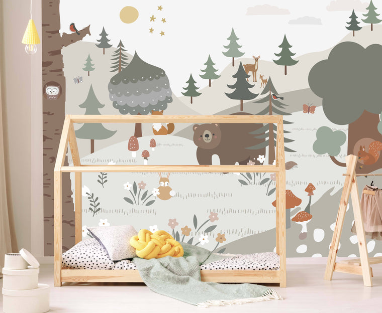 woodland wallpaper mural for nursery