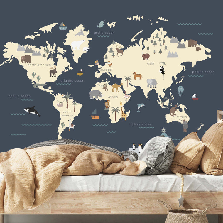 WORLD MAP WALL MURAL - NAVY