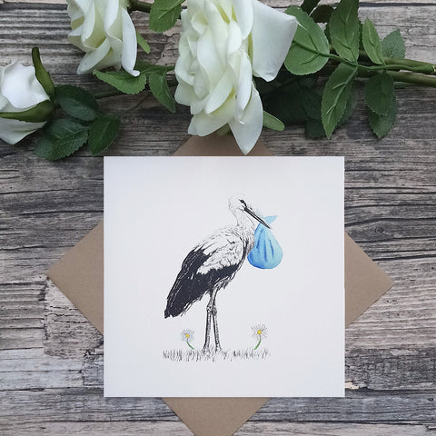 New Baby Boy Stork Card - Bella & Bryn