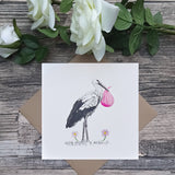New Baby Girl Stork Card - Bella & Bryn