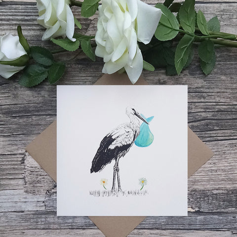 New Baby Stork Card - Bella & Bryn