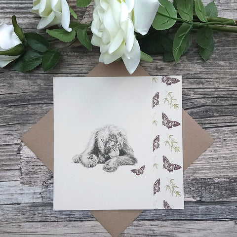 Orangutan and Butterfly Card - Bella & Bryn